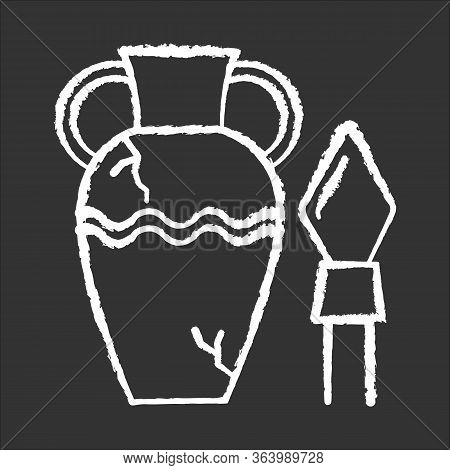 Ancient Artifacts Chalk Icon. Greek Amphora. Roman Spear. Old Culture. Historic Discovery. Cracked C