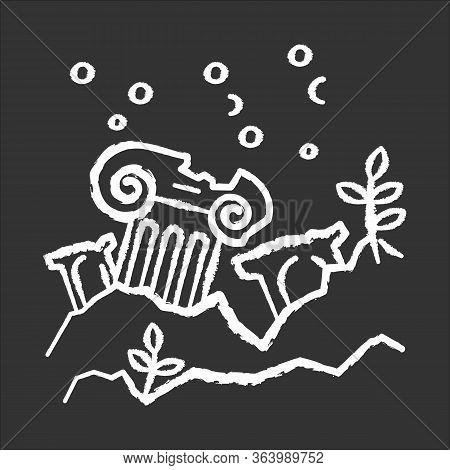 Lost City Chalk Icon. Ancient Ruins In Ocean. Columns Underwater. Damaged Pillar On Sea Bottom. Brok