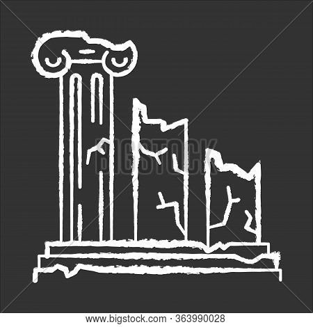 Ancient Ruins Chalk Icon. Broken Columns. Greek Pillars. Lost Cities And Civilizations. Archeology.