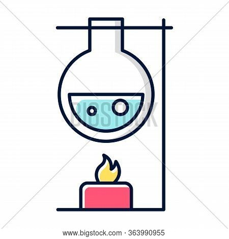 Heating Laboratory Flask With Candle Color Icon. Conducting Experiment. Laboratory Work. Interaction