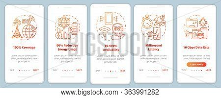 5g Technologies Onboarding Mobile App Page Screen Vector Template. Millisecond Latency. 100 Coverage