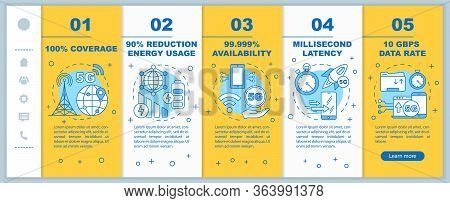5g Technologies Onboarding Mobile Web Pages Vector Template. 100 Coverage. Responsive Smartphone Web