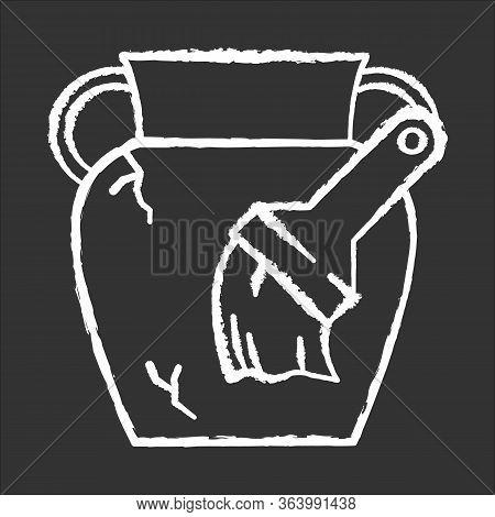 Restoration Chalk Icon. Damaged Greek Amphora. Large Vase, Brush. Ancient Artifact. Antique Item Rec