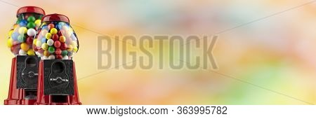 Coin Operated Gumball Machines Isolated On Colorful Background