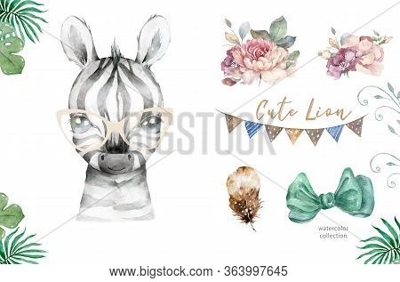 Watercolor Cartoon Cute Baby Zebra With Tropical Frame Background. Nursery African Illustration. Boh