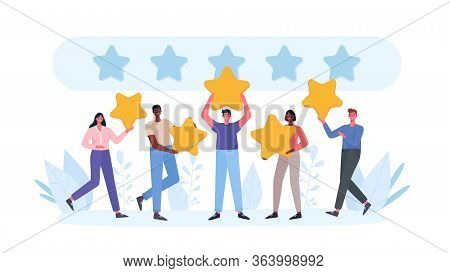People Are Holding Stars, Giving Five Star Feedback. Clients Choosing Satisfaction Rating And Leavin
