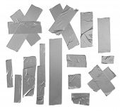 Duct repair tape silver patterns kit isolated poster