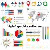 infographics collection - blue, red, yellow and green color poster