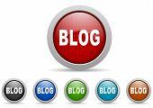 blog icons set on white background illustration poster