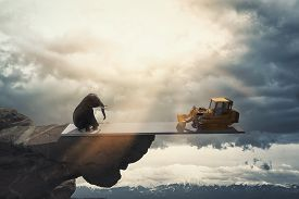 Elehpant On Balance With A Bulldozer Above The Jungle . Global Warming Concept . Realise Effects Of