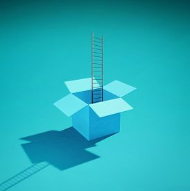 Ladder Inside An Opened Box . This Is A 3d Render Illustration.