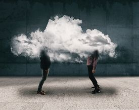 Two People Chatting Inside A Cloud . Brainstorming Concept .