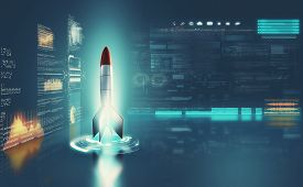 Rocket Missle Inside A Futuristic Cylinder With Data And Information On Screens . Start Up Launch Co