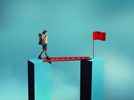 Traveler Walk On A Ladder Between Two Cubes . Path To Success . Overcoming Obstacles Concept .
