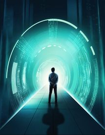 Businessman On Cyber Tunnel Server . Futuristic Data Information .