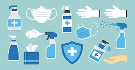 Disinfection. Hand Hygiene. Set Of Hand Sanitizer Bottles, Washing Gel, Spray, Wipes, Liquid Soap, G