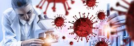 Coronavirus Covid-19 Medical Test Vaccine Research And Development Concept.
