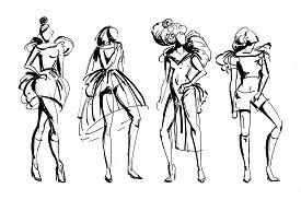 Stylish Fashion Models Set. Abstract Stylized Female Figures. Ink Grunge Sketch Style. Isolated Obje