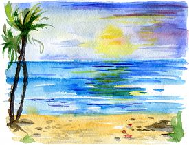 Tropical Landscape With Beach, Sea, Palm Trees, Sun And Little Crabs. Beach Paradise Scenery Backgro
