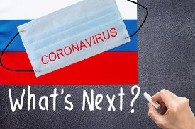 Russian Flag With Disposable Mask And Coronavirus Inscription With Disposable Mask And Coronavirus I