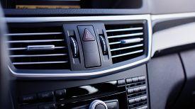 Interior Of A Modern Car, Car Air Conditioner, Emergency Button