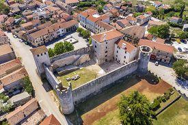An Aerial View Of Svetvincenat And Morosini-grimani Stone Castle, Istria, Croatia