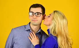 Smart Husband. Happy Couple. Couple In Love. Family Couple Hugging On Yellow Background. Caucasian M