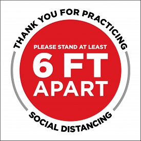 Thank You For Practicing Social Distancing Floor Graphic | 6 Feet Apart Reminder Sign | Six Ft Decal