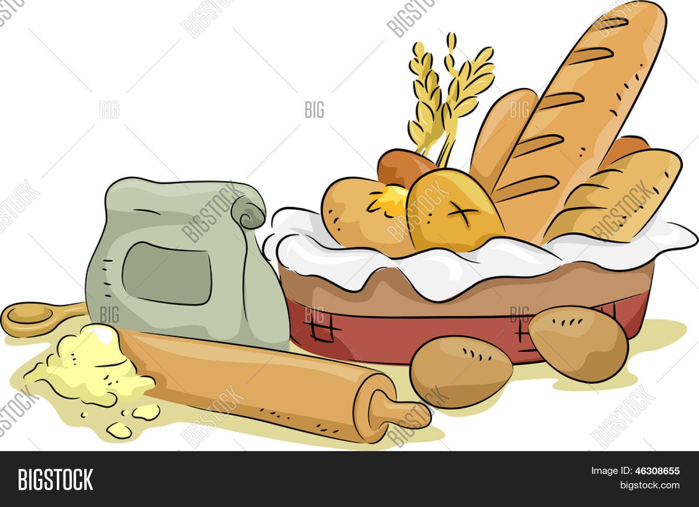 Illustration Basket Bread Baking Vector & Photo