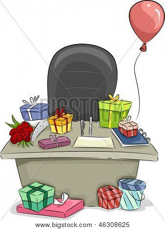 Illustration of Boss' Table with Gifts