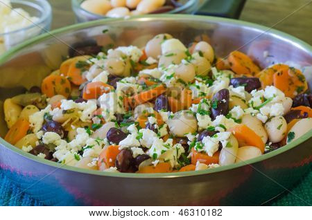 Beans with feta cheese