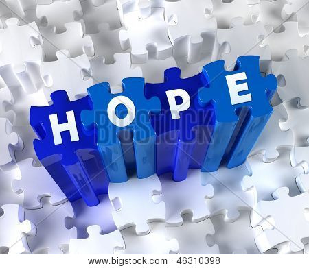 Creative 3D pieces of puzzle and word Hope