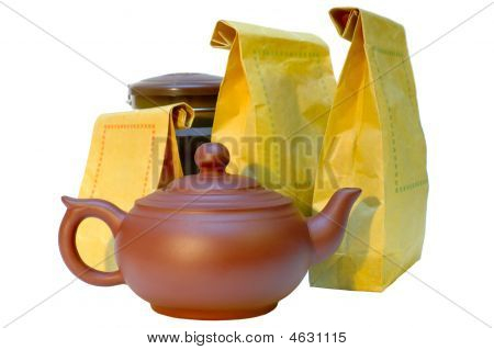 Pottery (clay) Teapot, Tea In Paper Bags And Tin.