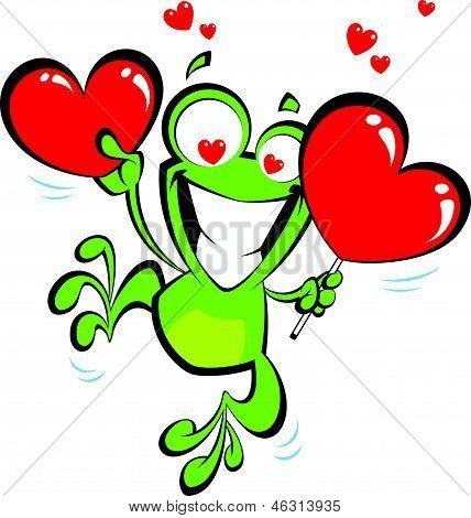 Crazy Cartoon Frog In Love