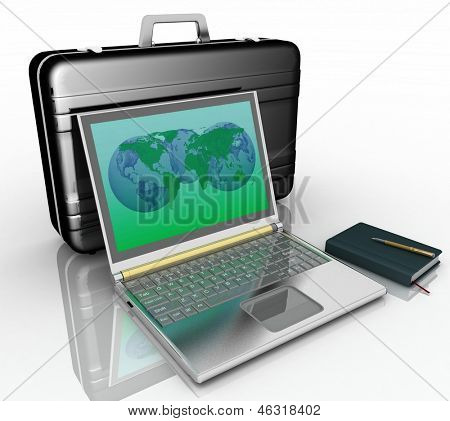 silvery laptop, notepad and pen with black brief-case  on white background