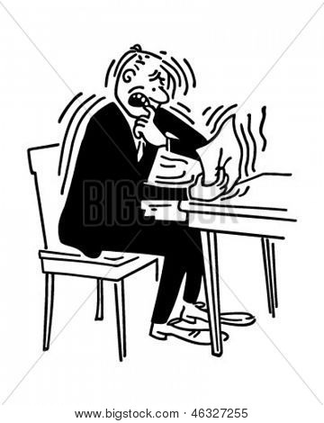 Bad News - Man receiving letter from IRS - Retro Clip Art Illustration
