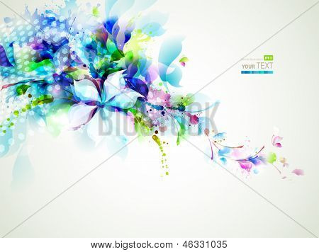 abstract composition with tender flowers poster