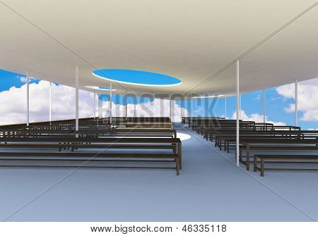 Modern Canteen With Wood Chairs And Tables