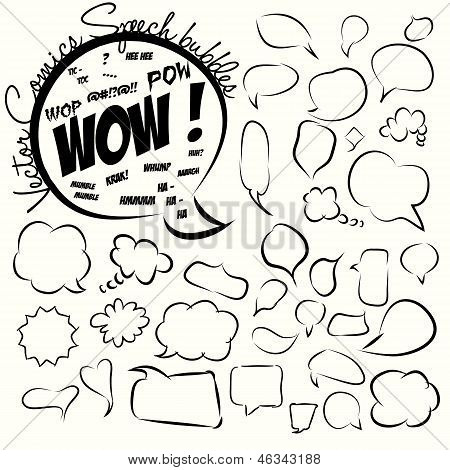 Collection of comic style speech bubbles. Vector.