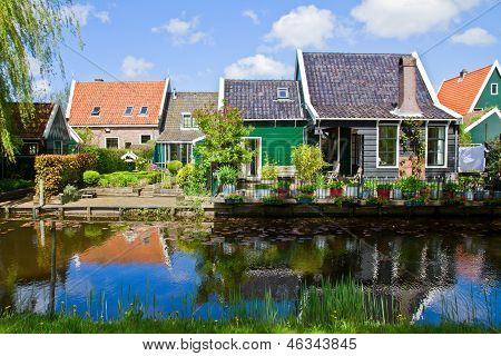 rural dutch scenery of small old town Zaandijk, Netherlands poster