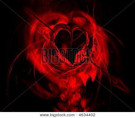 Corazón sangrante alcanzado por una flecha