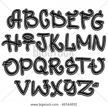 Graffiti font alphabet. Hip hop letters