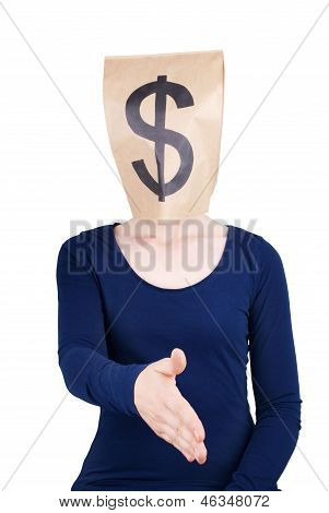 Person With Paper Bag Head And Dollar Sign