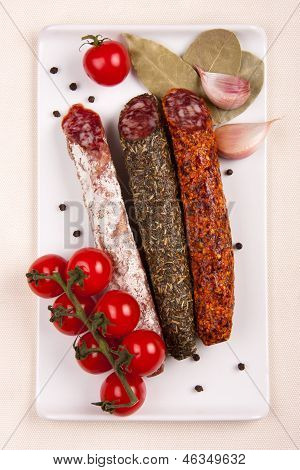 Plate With Sausages And Tomatoes