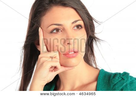 Close-up portrait of beauty girl on white background poster