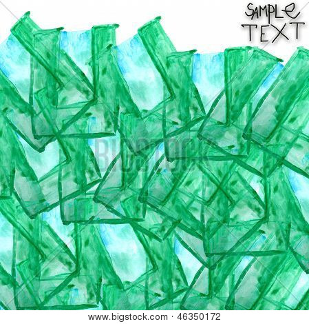 background art hand watercolour green brush texture isolated