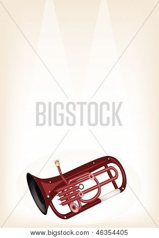 A Musical Euphonium On Brown Stage Background