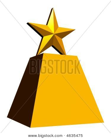Gold Star Trophy, White Background