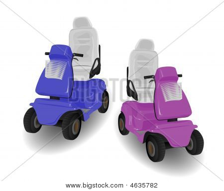 Two Mobility Scooter Illustrations