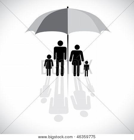 Concept Vector Graphic- Family Protection(insurance) & Umbrella Symbol